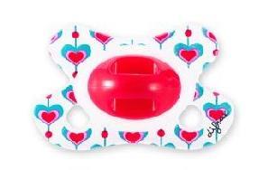 Silikoonlutt dental -2/+2 roosad südamed sinisega rõngata (Difrax)