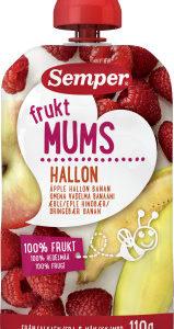 Puuviljapüree FruktMUMS õun,vaarikas,banaan 110g tuutus 5-6.kuust Semper