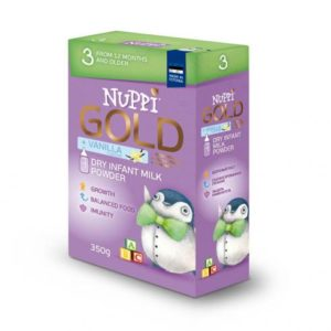 NUPPI® GOLD 3 – piimal põhinev väikelaste jätkupiimasegu alates 1-3aastani. 24x350g(1pakk-4,65eur)