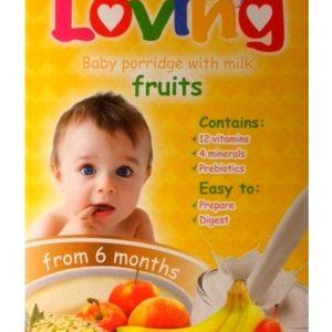 Loving 5-puuvilja piima-nisupudrupulber,vitamiinide ja mineraalainetega 250g 6.kuust