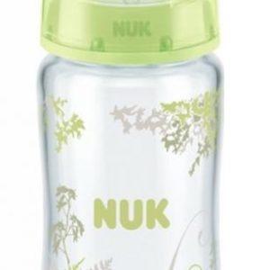 NUK First Choice+ klaaspudel 240ml+silikoonlutt 0-6k Heleroheline