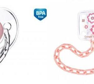 Rõngaslutt silikoon anatoomiline 22/565 0-6kuud+lutikett 10/877 roosa Canpol Babies