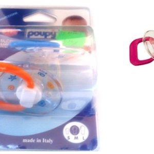 Rõngaslutt Poupy 0-12kuud M-suurus,2tk ümar silikoon orans/sinine