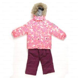 Laste komplekt ELINA (4115CW12) 813 roosa mustriga/ploomililla 158cm Huppa