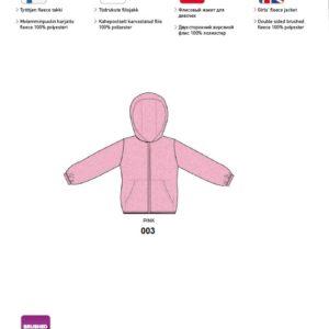 Tüdrukute fliisjakk MIMM 104cm 003 roosa Huppa