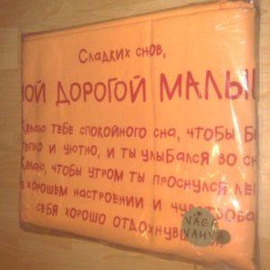 Kallis Beebi VENE KEELES Tekikott 102×120 ja Padjapüür 40×52 Oranþ