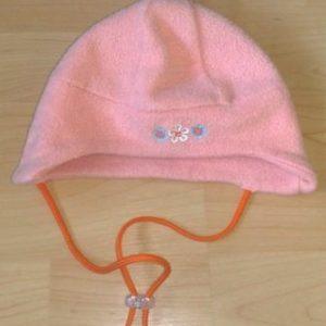 Müts fliis tüdrukule oranzikas-roosa 45-49cm KASUTATUD!!!