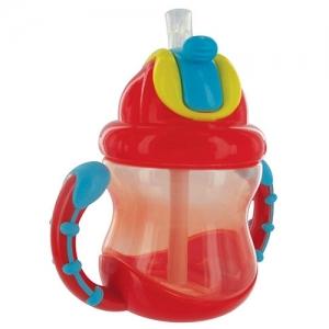 Nüby Flip-n Sip kõrrega pudel,sangadega 270ML 12+kuud PUNANE